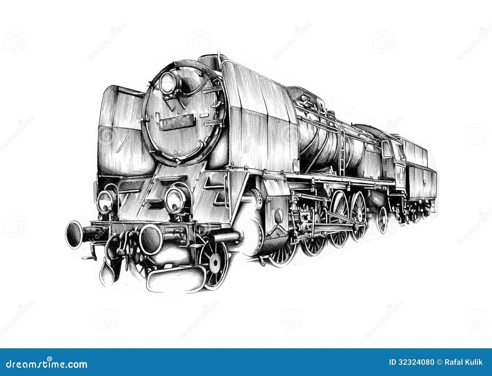 Steam Engine Art Design Drawing Stock Illustration