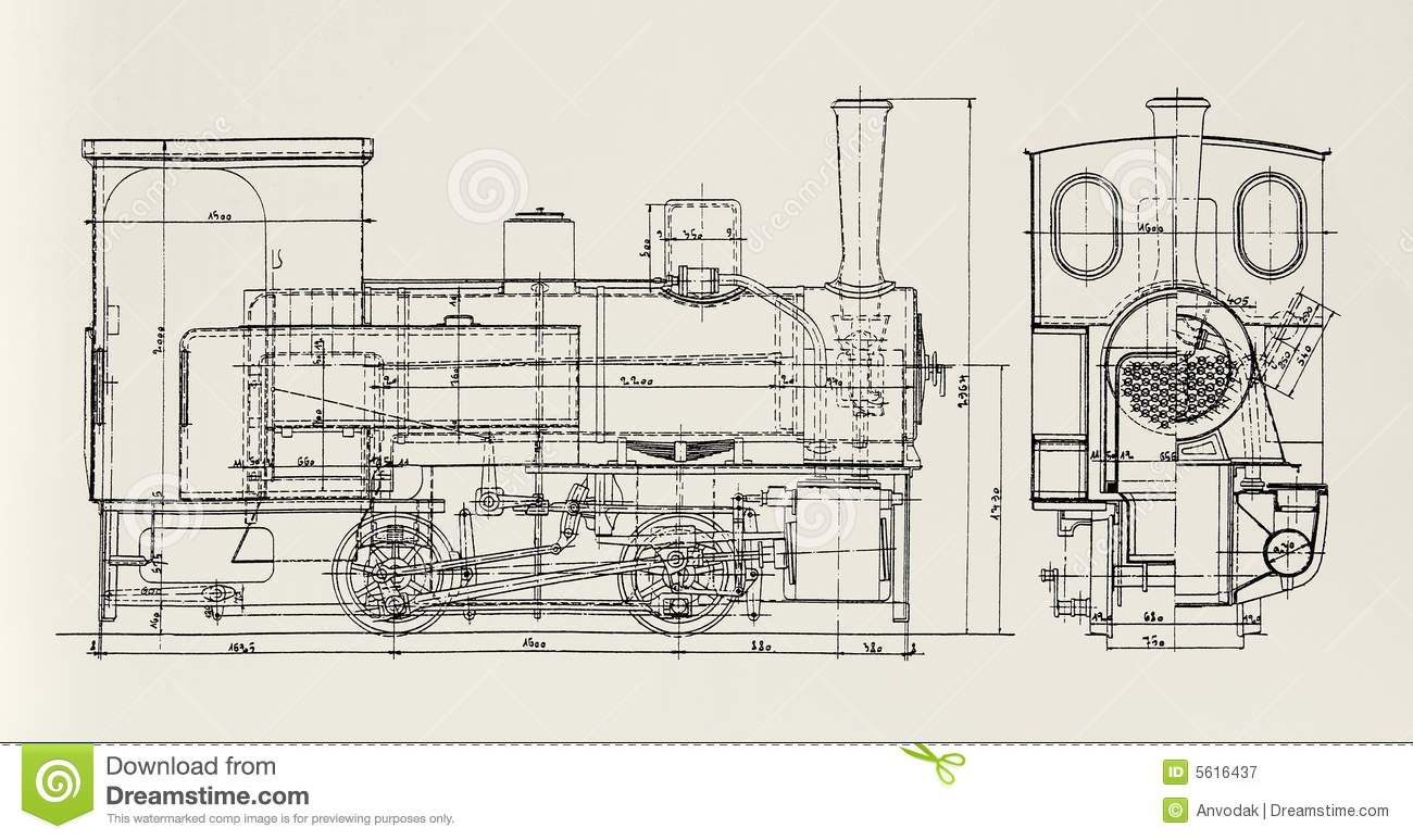 hight resolution of plan of vintage steam engine
