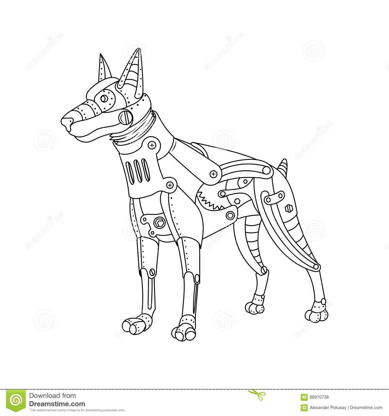 Steam Punk Style Doberman Dog Coloring Book Vector Stock