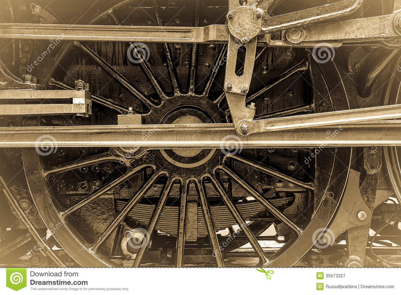 Steam Train Wheel Connecting Rods Stock Image