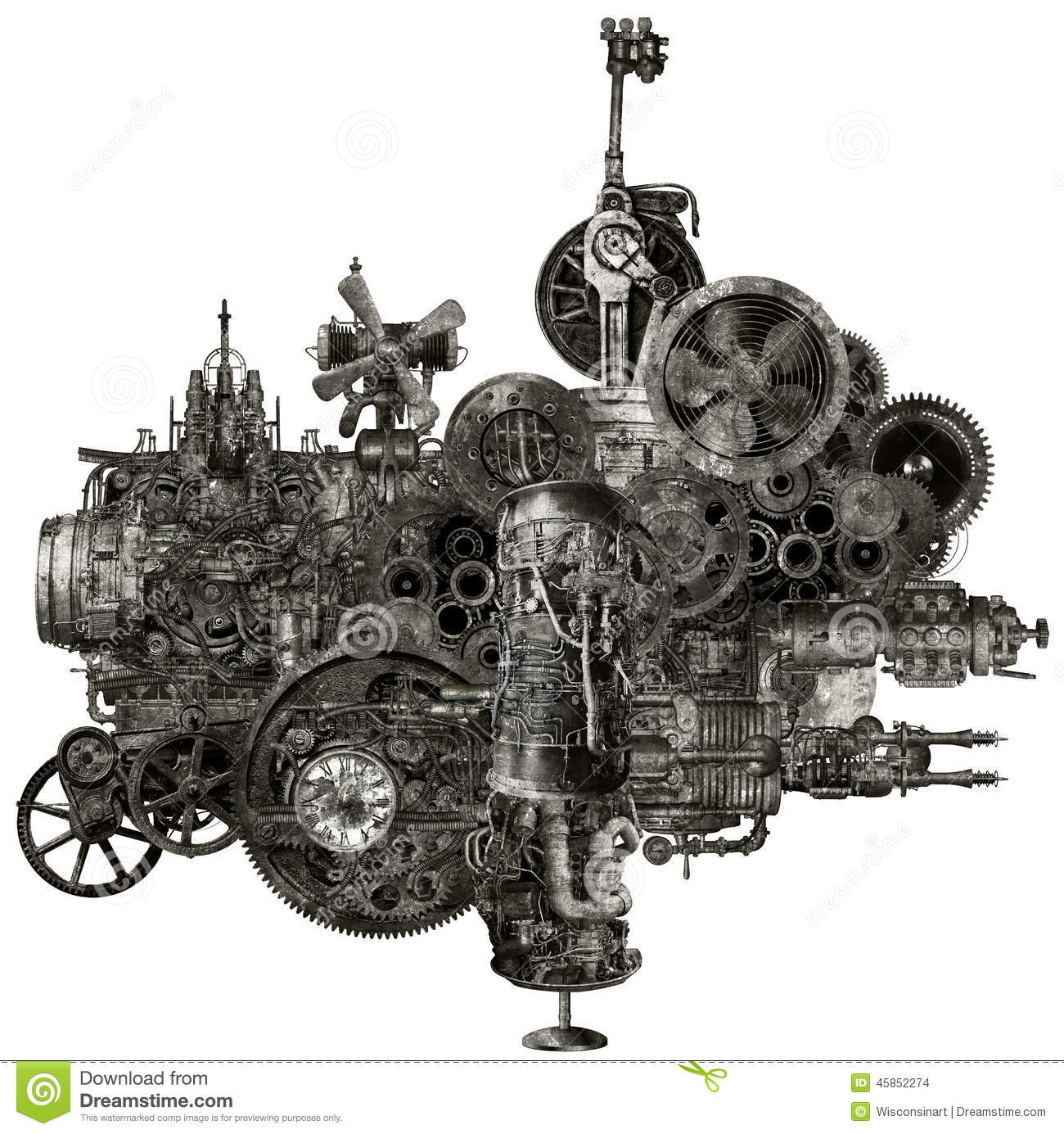 Steampunk Industrial Manufacturing Machine Isolated Stock