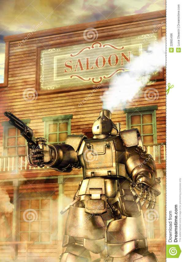 Steampunk Robot Western Royalty Free Stock - 22865496
