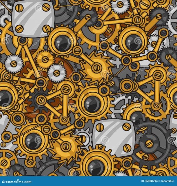 Steampunk Seamless Pattern Of Metal Gears In Stock Vector