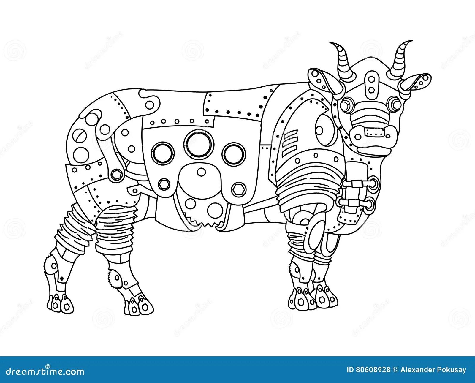 Steampunk Style Bull Coloring Book Vector Stock Vector