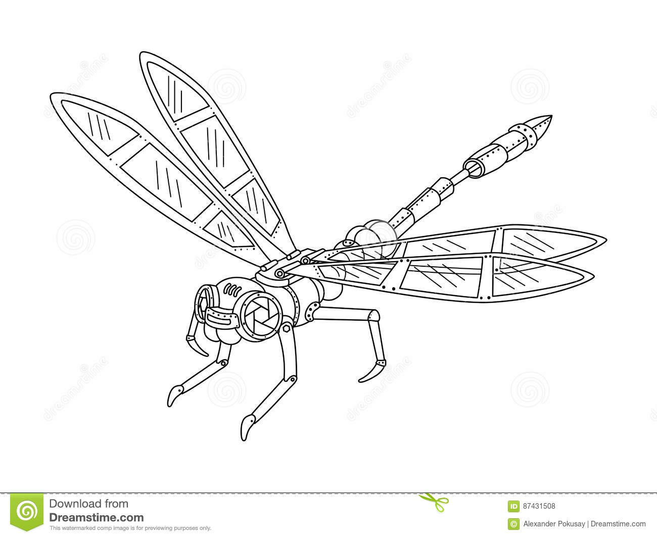 Steampunk Style Dragonfly Coloring Book Vector Vector