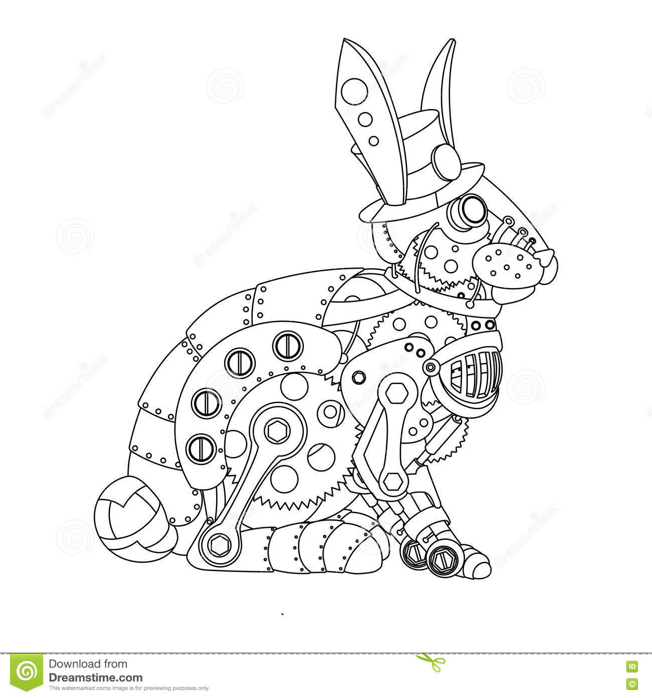 Steampunk Style Rabbit Coloring Book Vector Stock Vector