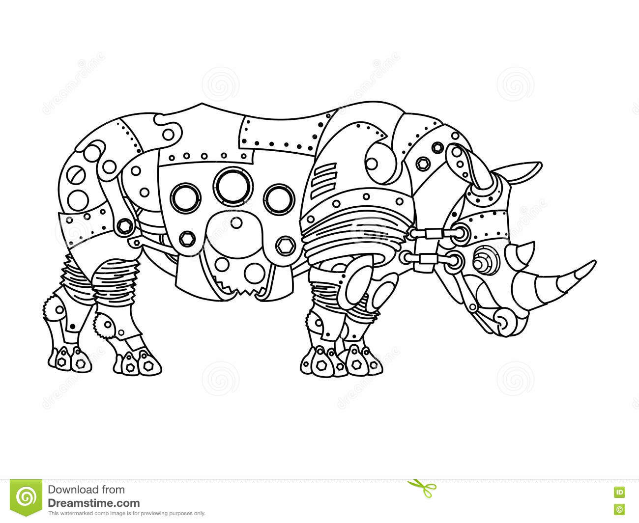 Steampunk Style Rhinoceros Coloring Book Vector Stock