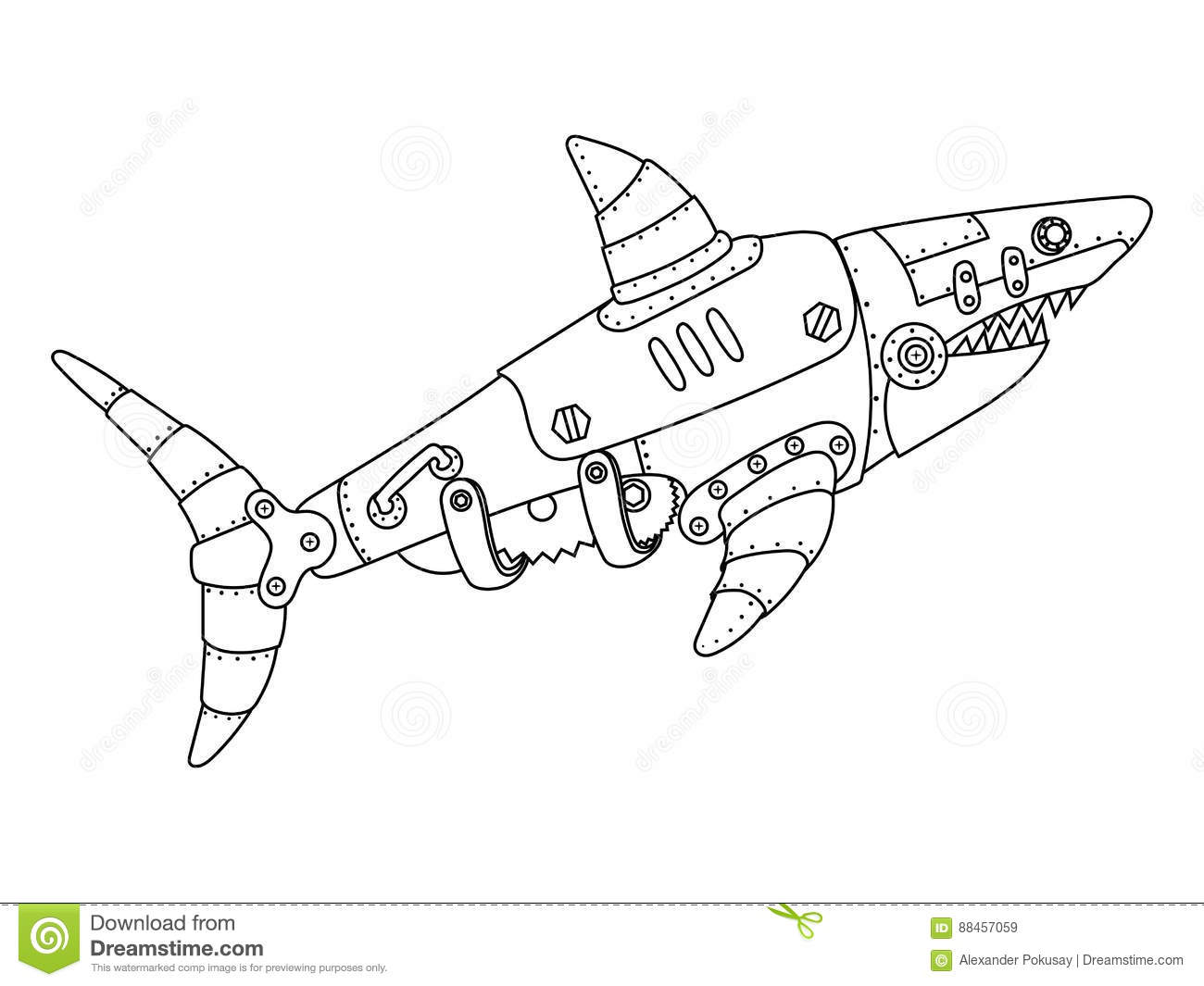 Steampunk Style Shark Coloring Book Vector Stock Vector