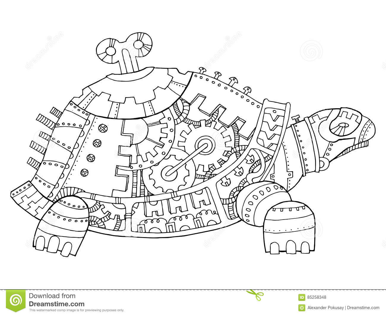 Steampunk Style Turtle Coloring Book Vector Stock Vector