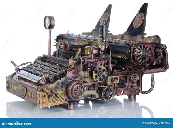 Steampunk Typewriter. Stock Of Brass Keypad