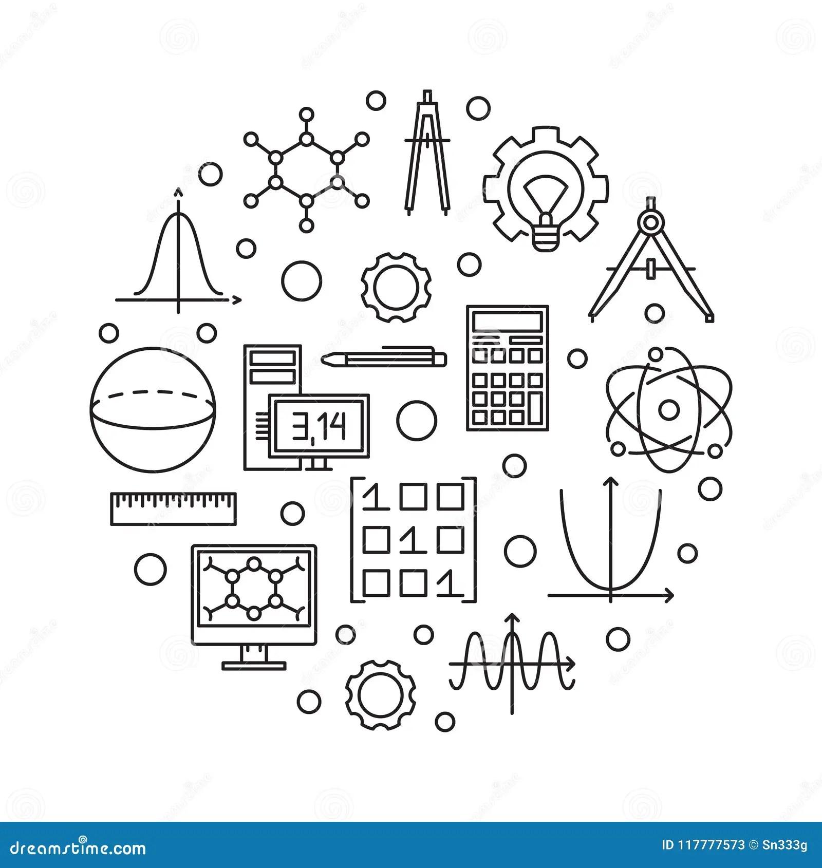 STEM Vector Round Minimal Illustration In Thin Line Style