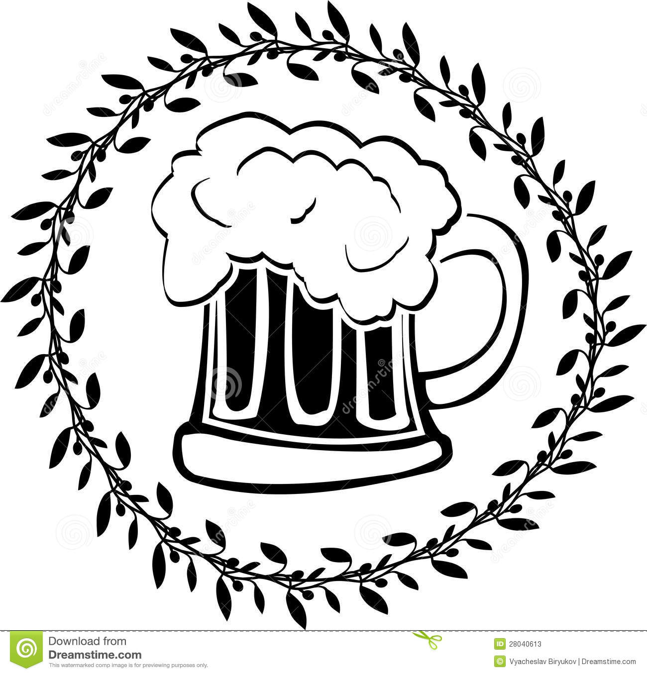 Stencil Of Glass Of Beer Stock Vector Illustration Of