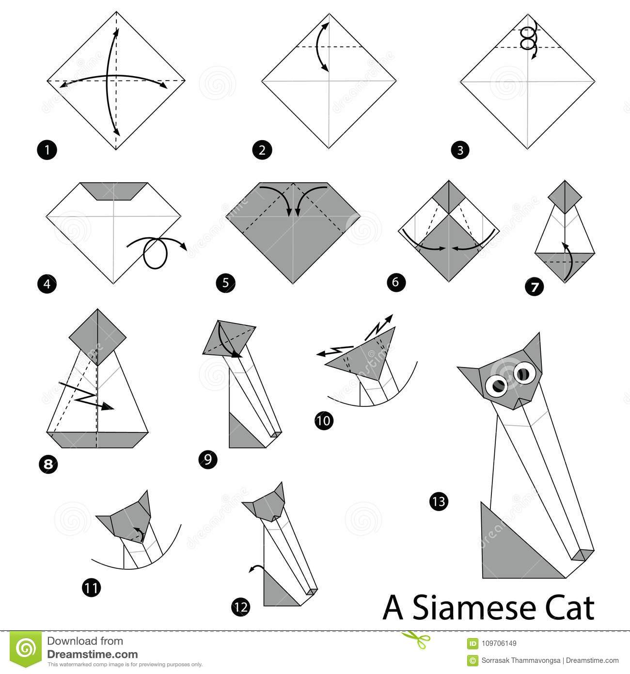 Step By Step Instructions How To Make Origami A Siamese