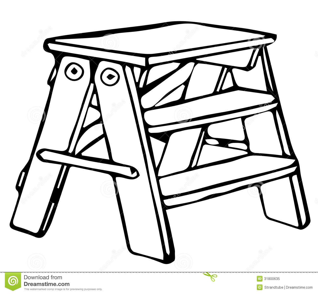 Royalty Free Stock Photo: Line Drawing of Step Ladder/ Eps