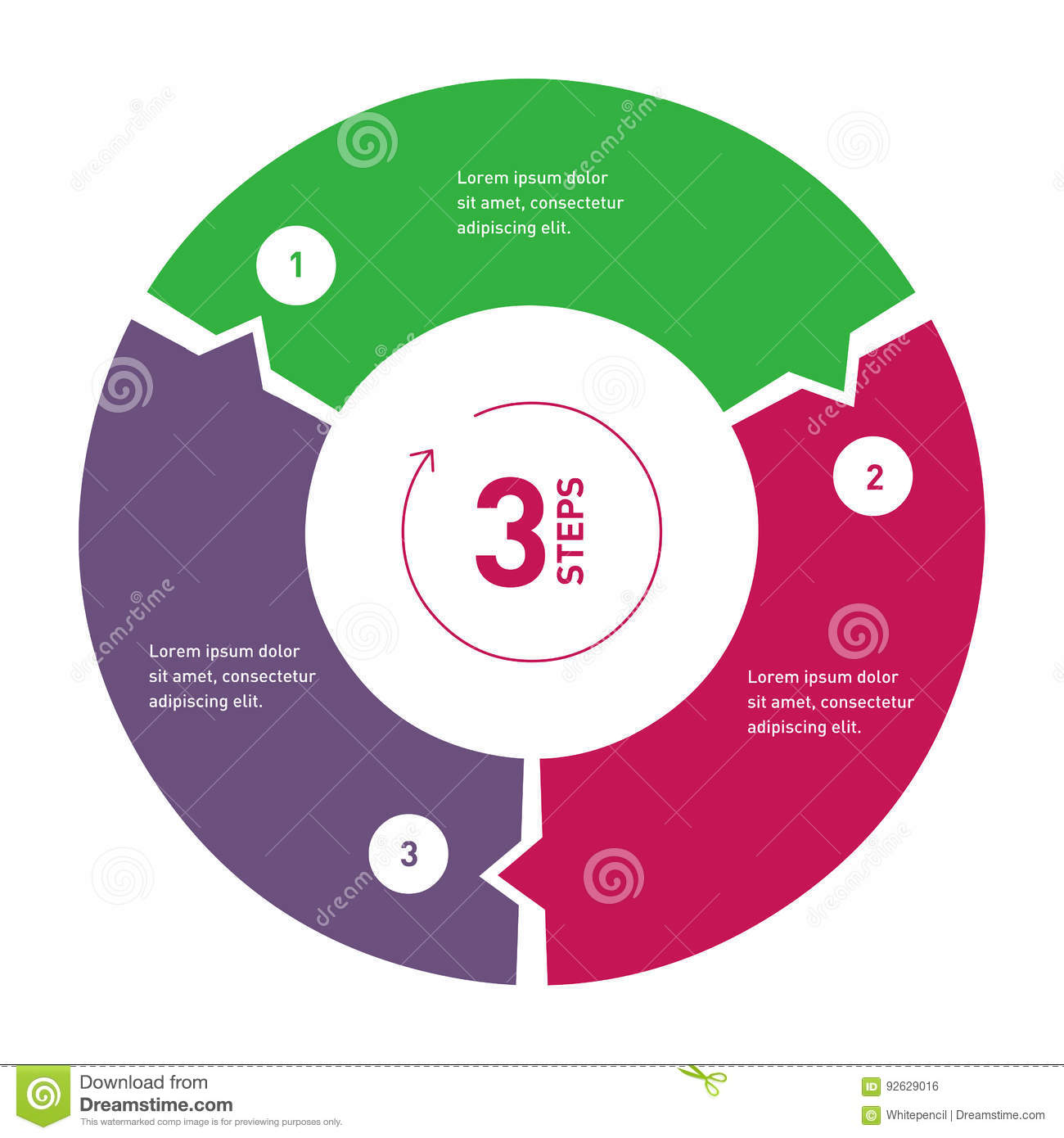 hight resolution of 3 step process circle infographic template for diagram annual report presentation chart web design