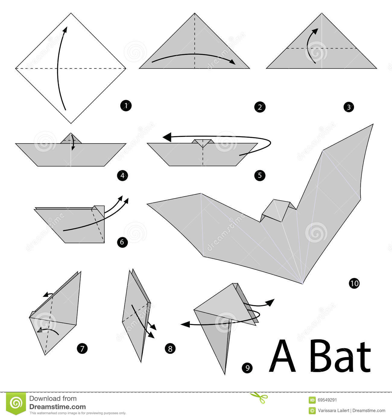 Step By Step Instructions How To Make Origami A Bat Stock