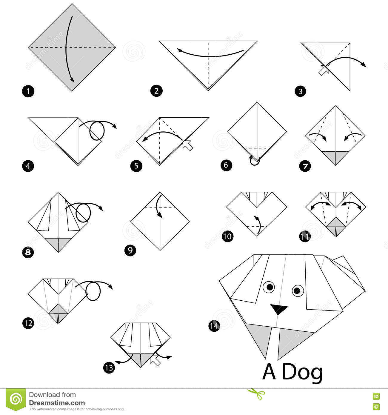 Step By Step Instructions How To Make Origami A Dog. Stock