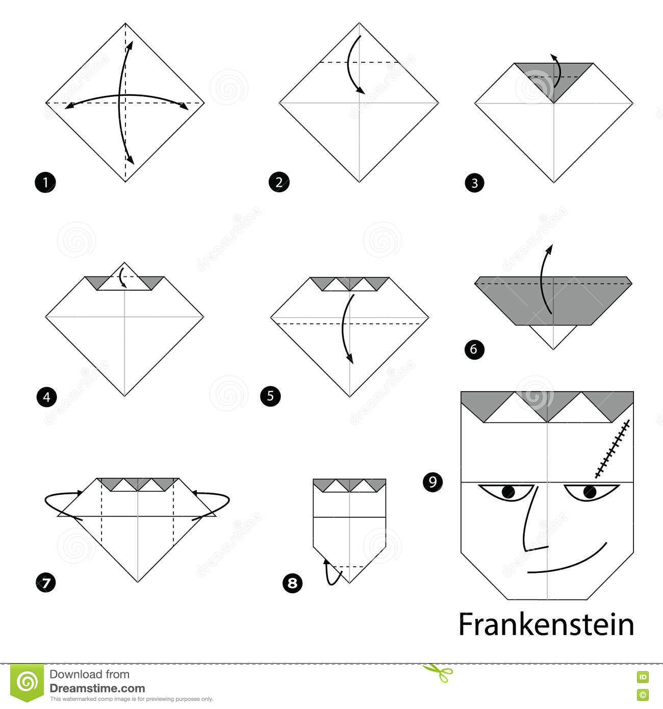 Step By Step Instructions How To Make Origami Frankenstein