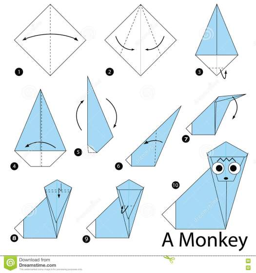 Step By Instructions How To Make Origami A Monkey Face Stock