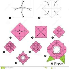 Origami Flower Instruction Diagram Headphone Wiring Step By Instructions How To Make A Rose Stock Vector