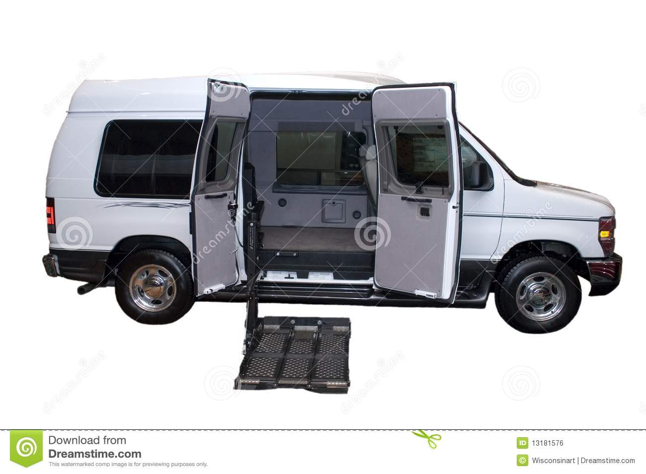 wheelchair lift for truck kmart bean bag chair step van handicap isolated stock photo