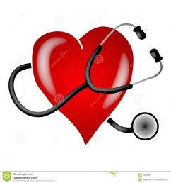 a clip art illustration of a stethoscope on a white isolated background wrapped around a big red heart to depict heart health and awareness topics [ 1300 x 1390 Pixel ]