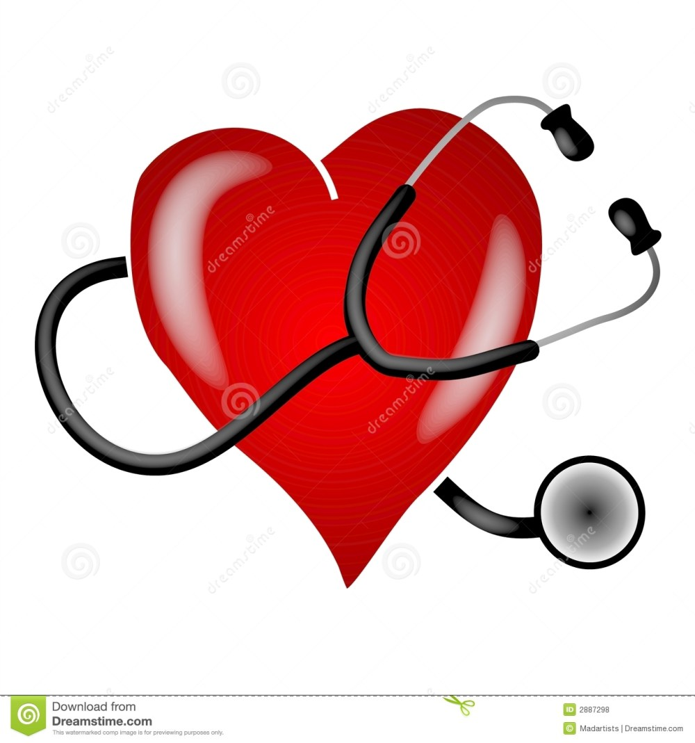 medium resolution of a clip art illustration of a stethoscope on a white isolated background wrapped around a big red heart to depict heart health and awareness topics