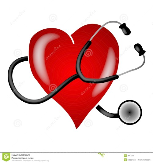 small resolution of a clip art illustration of a stethoscope on a white isolated background wrapped around a big red heart to depict heart health and awareness topics