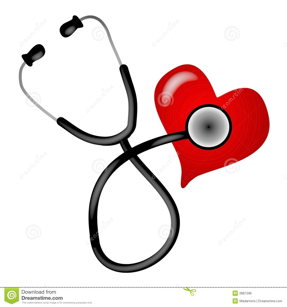 medium resolution of a clip art illustration of a stethoscope on a white isolated background placed on a heart to depict heart health and awareness topics