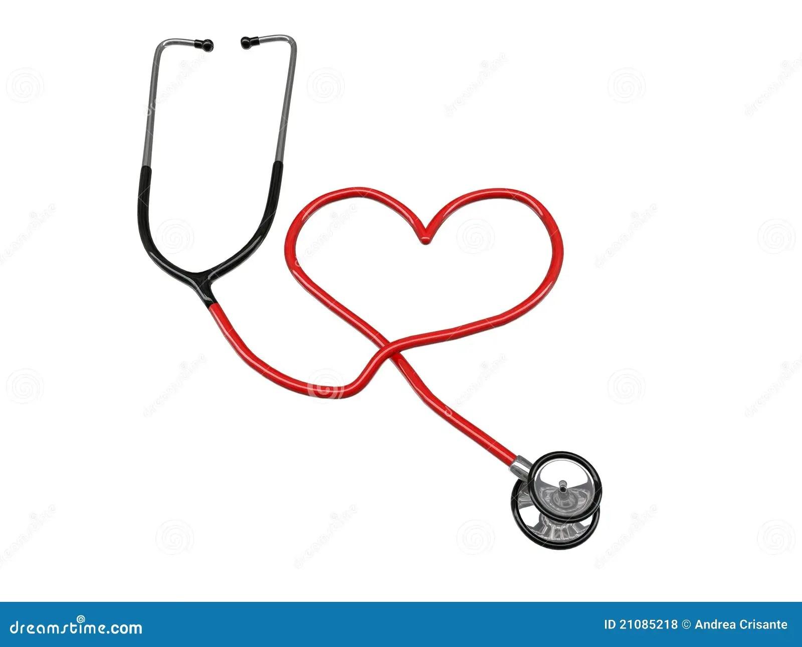 Stethoscope Heart Silhouette Stock Illustration