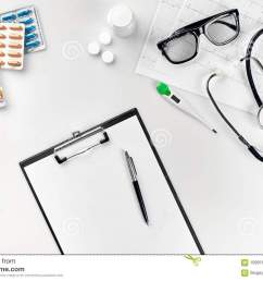 top view of doctor s desk table blank paper on clipboard with pen copy space designer s blank still life flat lay top view [ 1300 x 957 Pixel ]