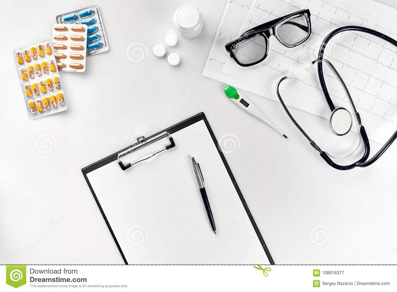 hight resolution of top view of doctor s desk table blank paper on clipboard with pen copy space designer s blank still life flat lay top view
