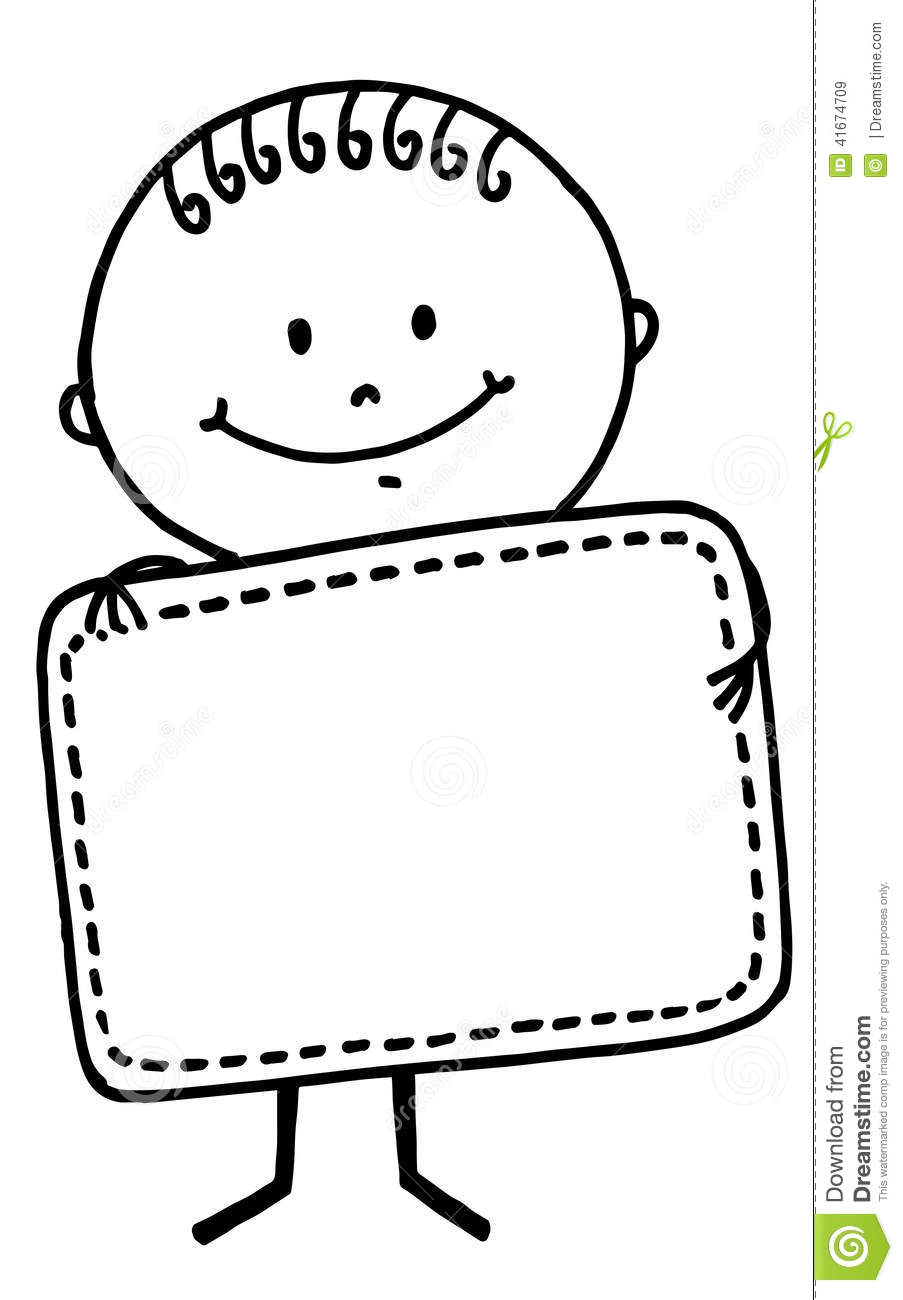 Stick Figure Boy With Board Stock Illustration