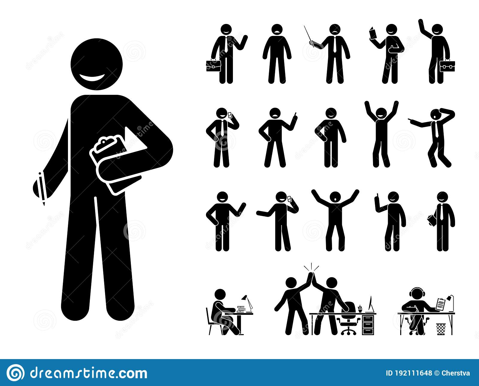 Stick Figure Business Man Vector Icon Set Happy Sad