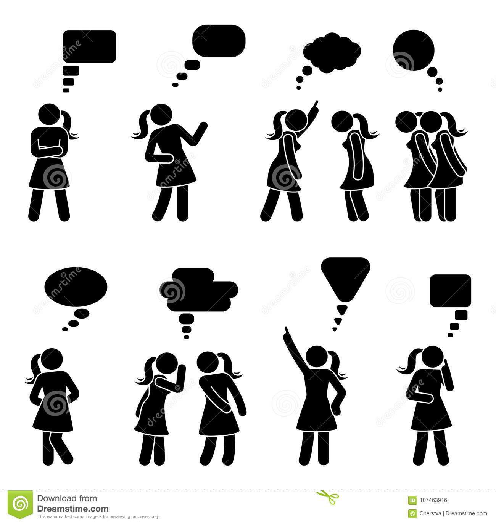 Stick Figure Dialog Speech Bubbles Set Talking Thinking