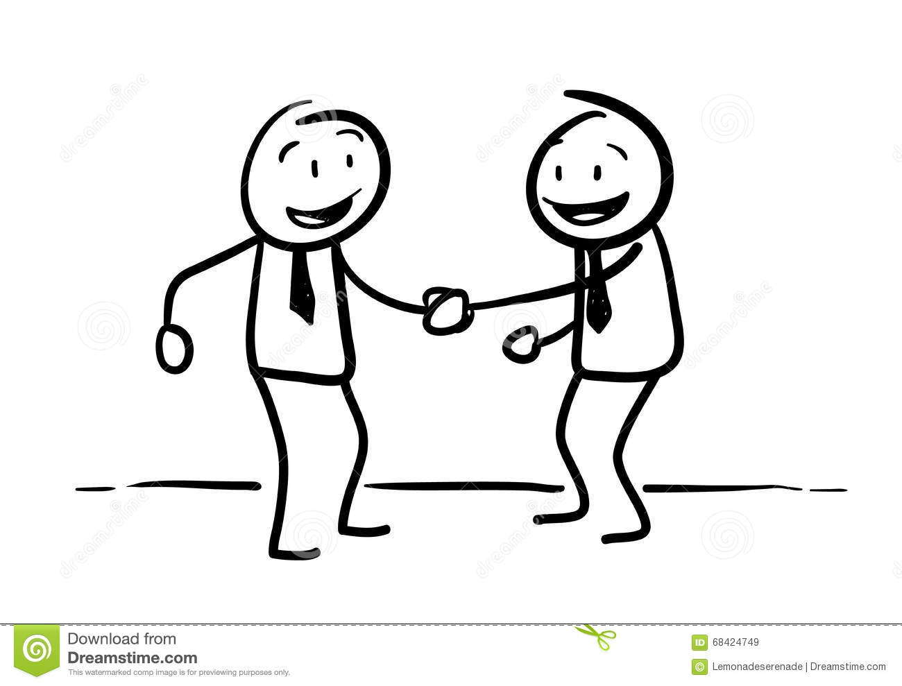 Stick Figure Handshaking Stock Vector Illustration Of Drawn