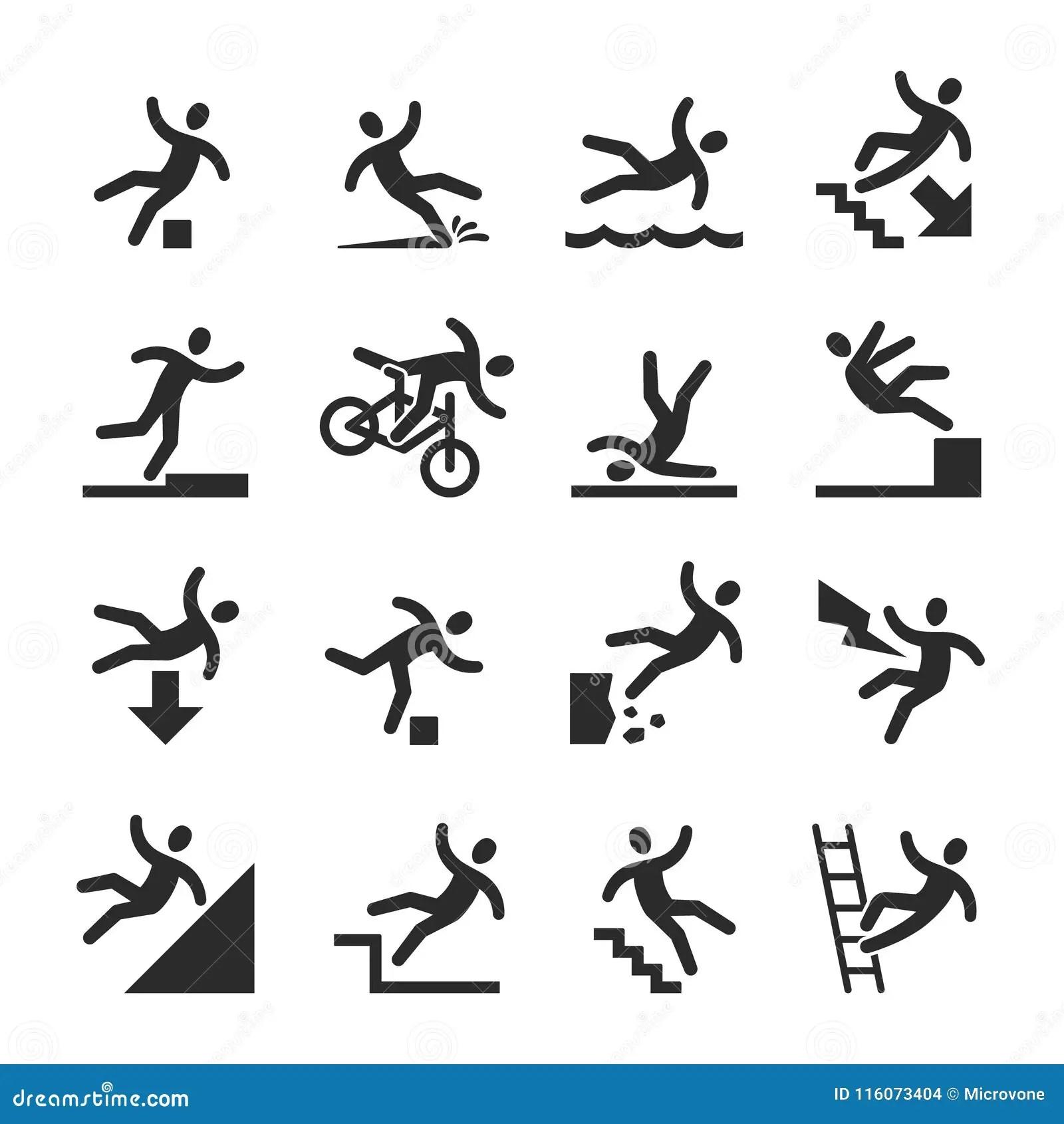 Stick Figure Man Falling Beware Hazard Warning Symbols