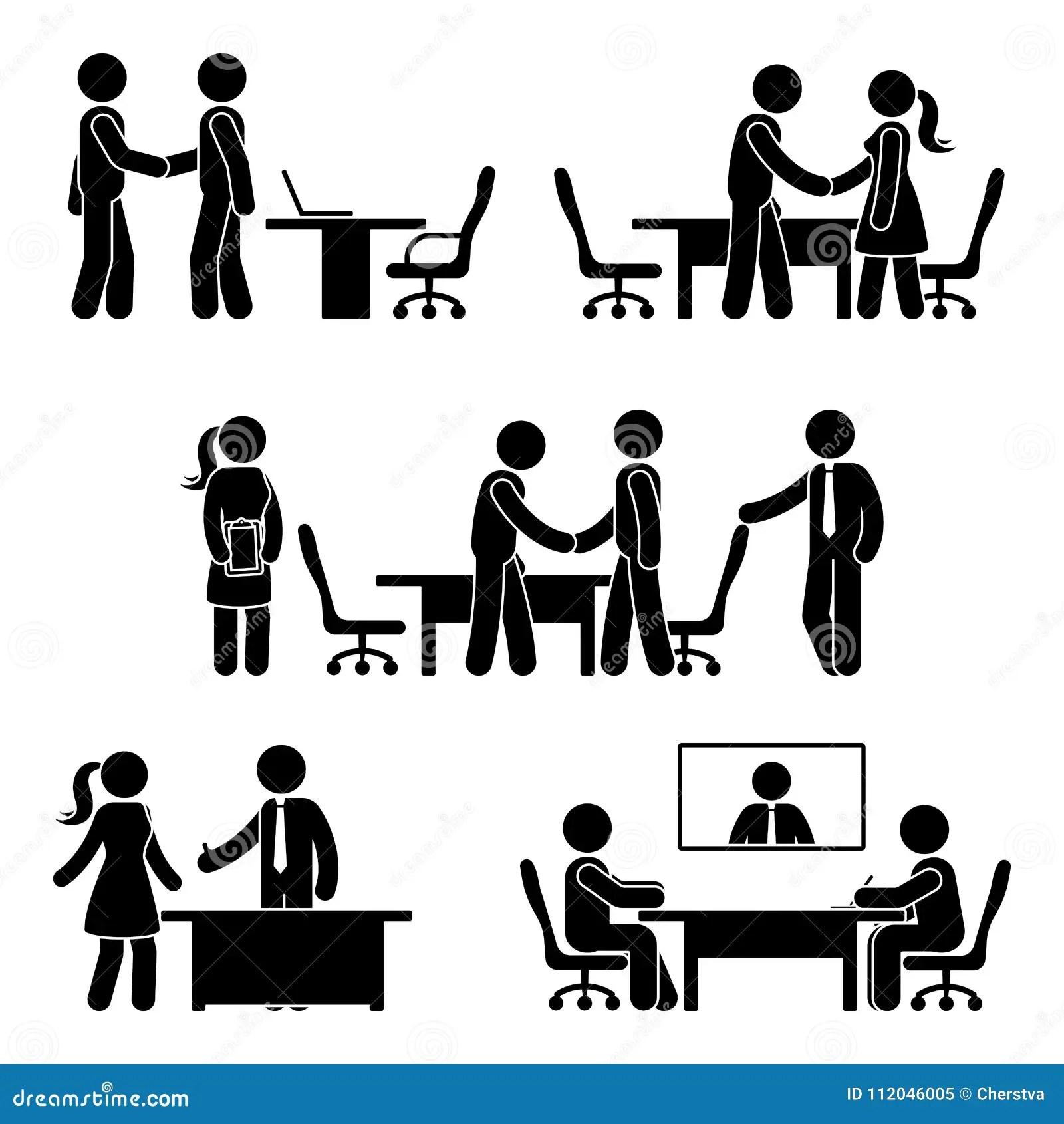 Stick Figure Negotiation Icon Set Stock Vector