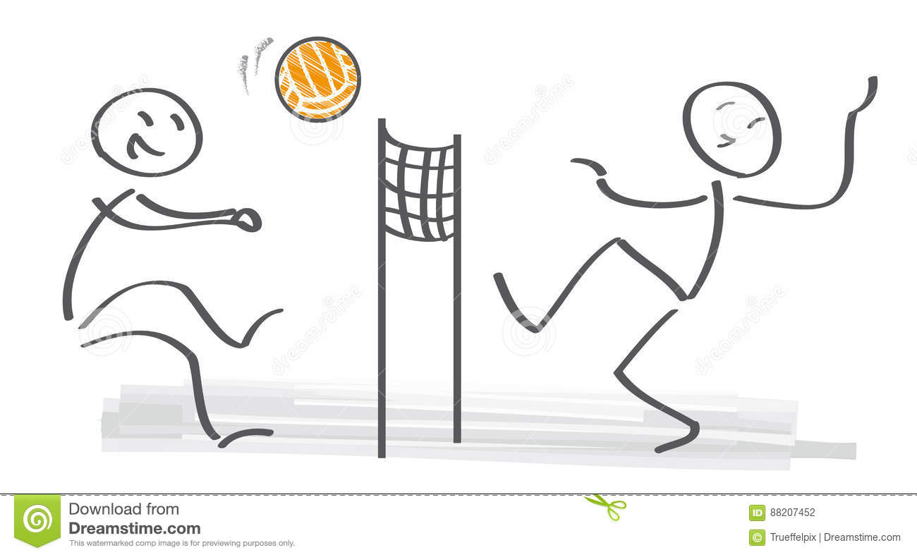 Stick Figures Palying Volleyball On Beach Stock