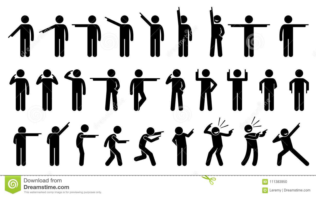 Stick Figures Of A Person Pointing Finger. Stock Vector