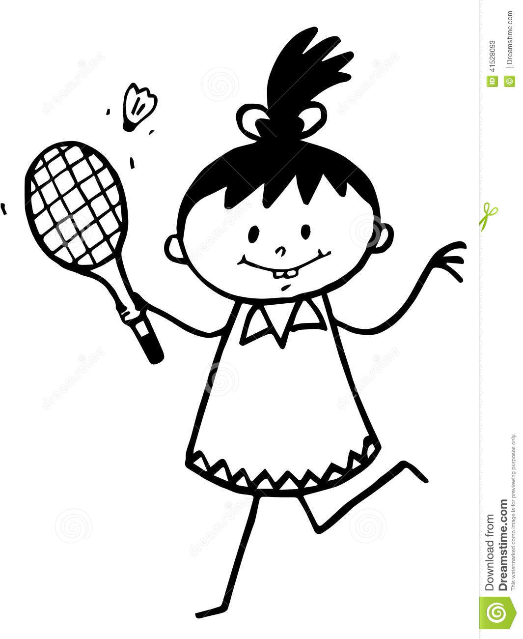 Stick Girl With Badminton Racket Stock Illustration