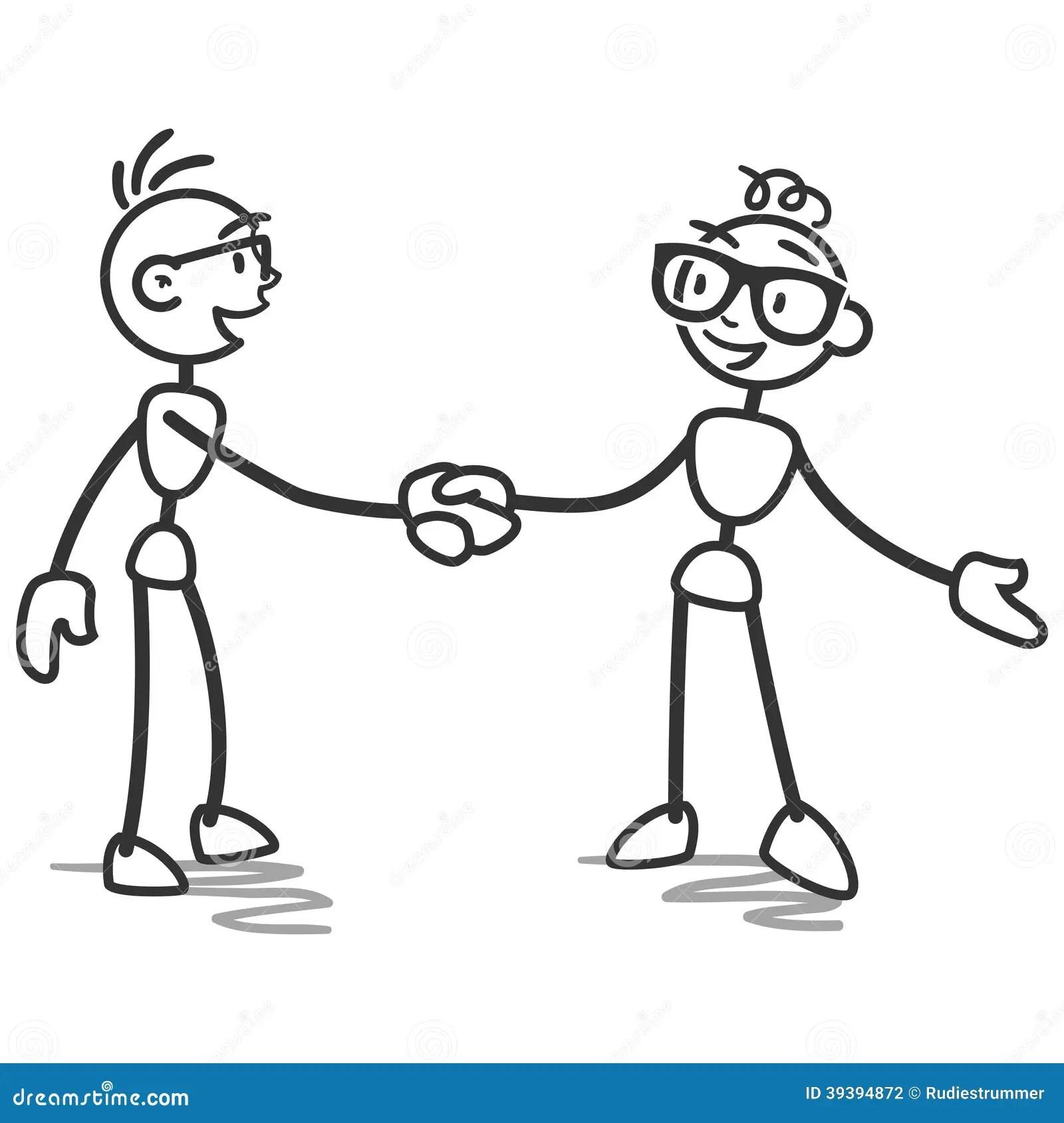 Stick Man Stick Figure Handshake Deal Stock Vector