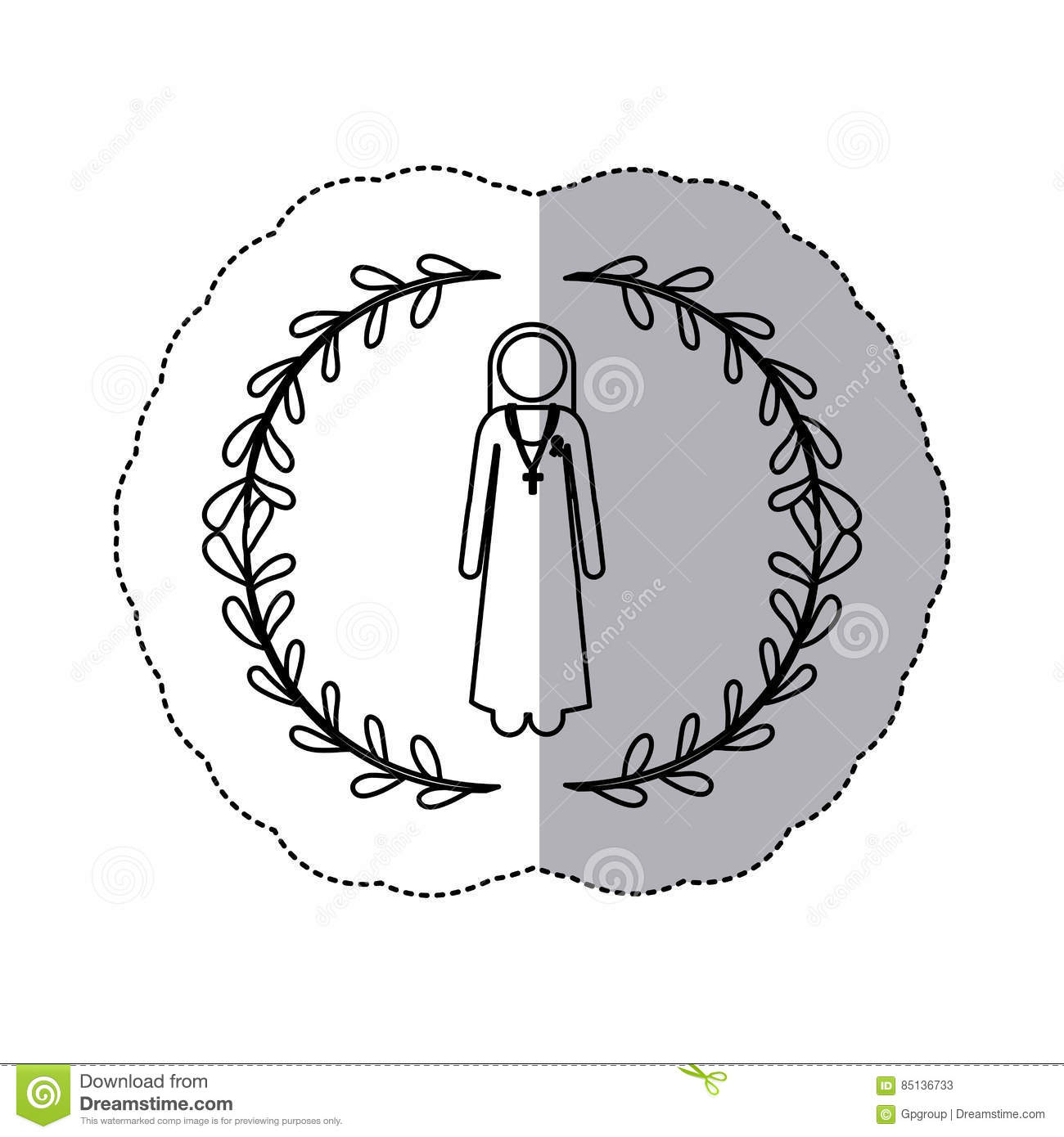 Sticker Slhouette Arch Of Leaves And Nun With Ribbon Of