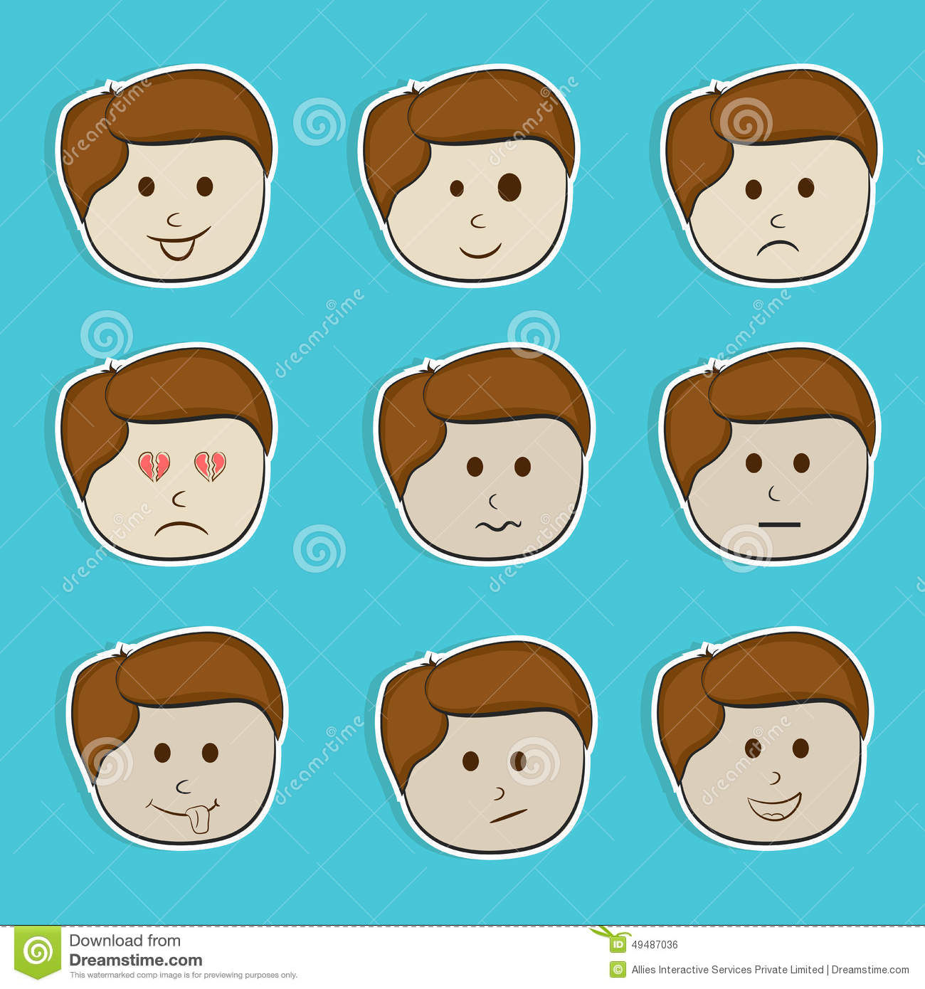 Sticker Tag Or Label Set With Different Expressions Stock Illustration