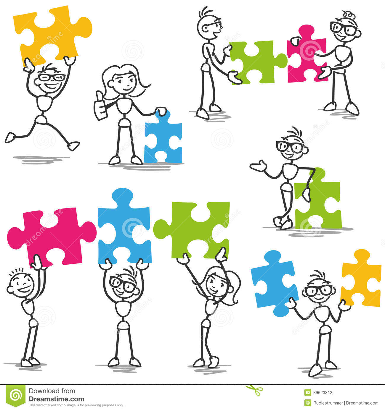 Stickman Jigsaw Puzzle Strategy Teamwork Stock Vector