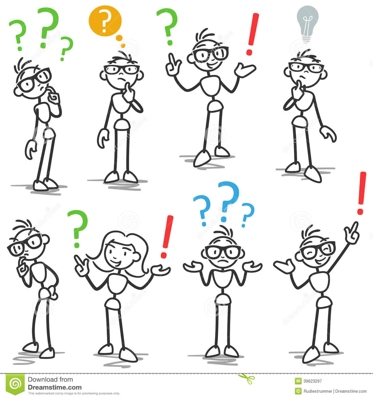 Stickman Question Mark Asking Pondering Stock Vector