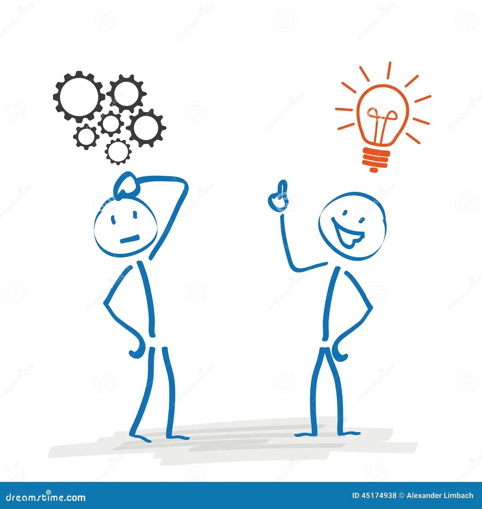 Stickmen Thinking Planning Concept Cartoon Vector