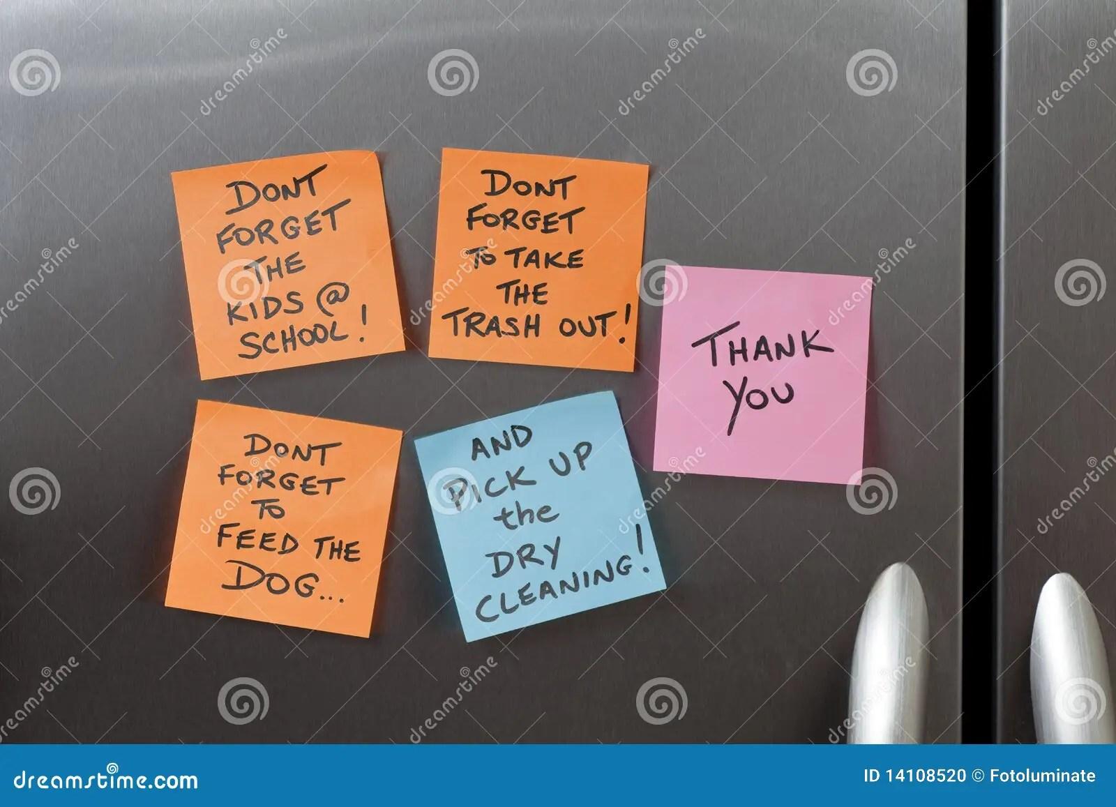 Sticky Notes On A Refrigerator Stock Photo  Image 14108520