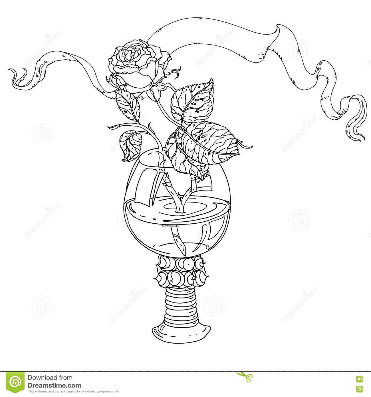 Still Life Coloring Book Antistress Style Stock Vector