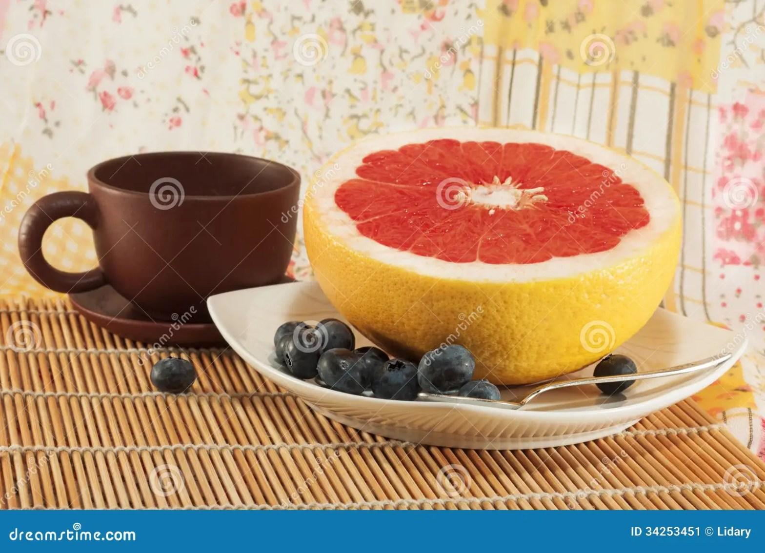 Still Life With A Diet Breakfast Grapefruit Blueberries
